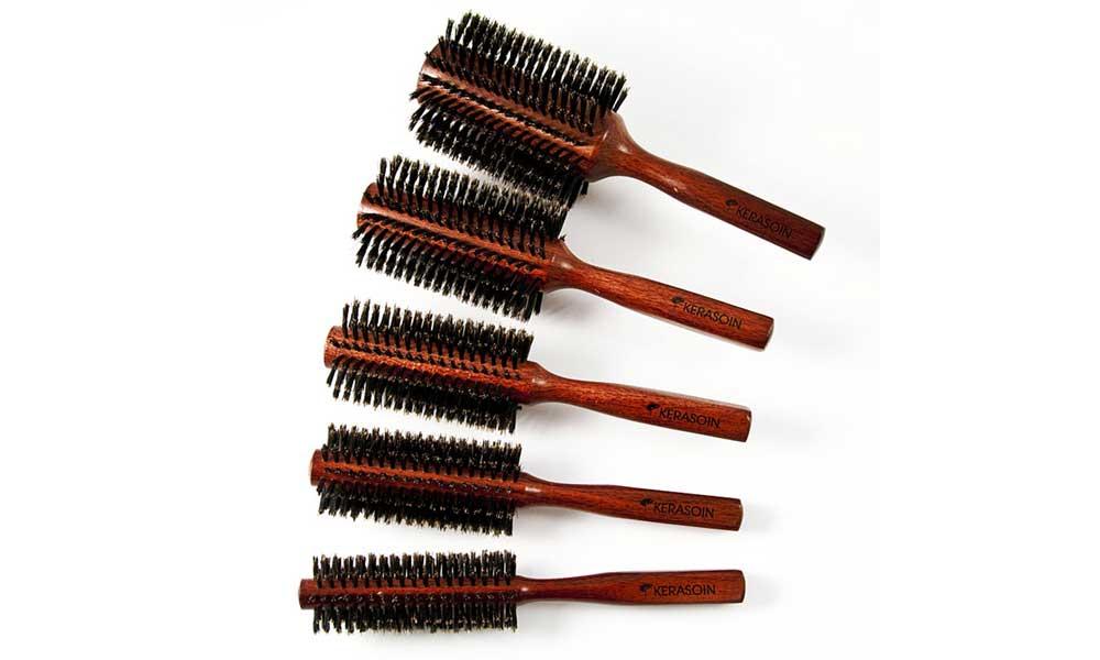 Brosse à brushing en poils de sanglier